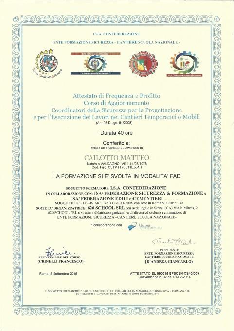 Attestato aggiornamento Coordinatore Sicurezza Cantieri